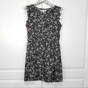 LC Lauren Conrad Bird Print Black Peasant Dress 14